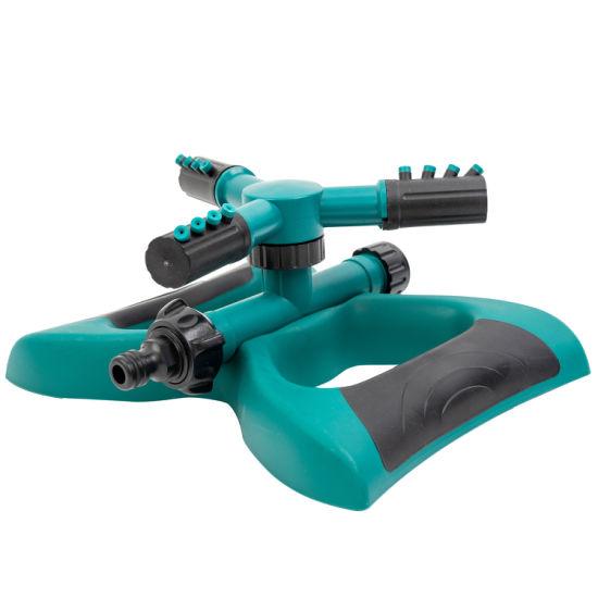 Garden Sprinkler, 3 Nozzles Lawn Sprinklers, 360° Automatic Rotating Water Sprinkler System