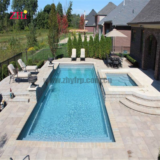 Rectangle Fiberglass Pool with SPA and Tanning Ledge