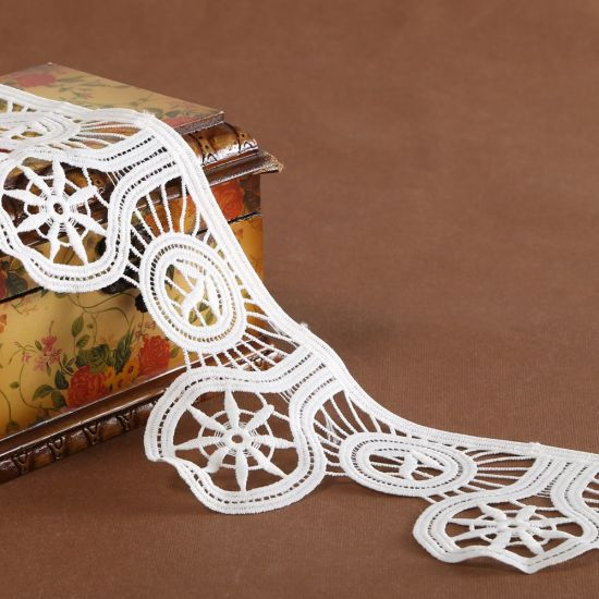 Embroidered Chemical Poly Milk Lace Ribbon Trim
