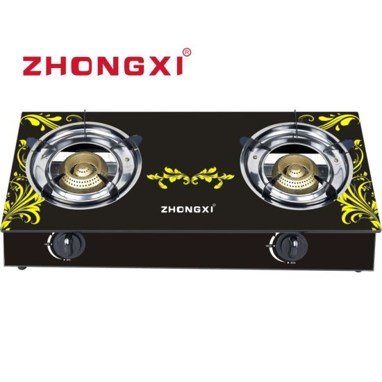 Africa Hot Selling Tempered Glass 2 Burner Gas Stove (JZ-QT02)
