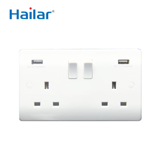 BS 13A 2 Gang Switched USB Socket 1A+2.1A USB Outlets, Single Pole
