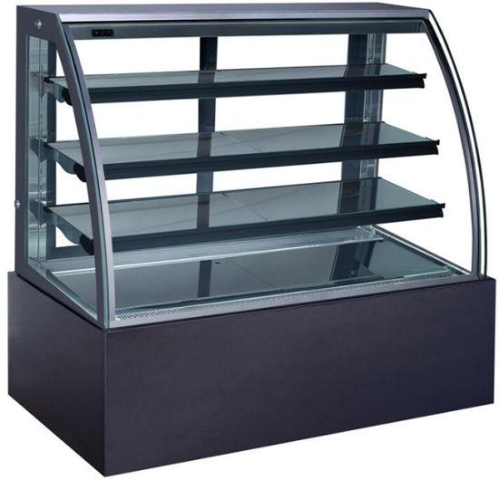 Supermarket Cake Display Cooler Tempered Curved Glass Showcase Kt760A-M2