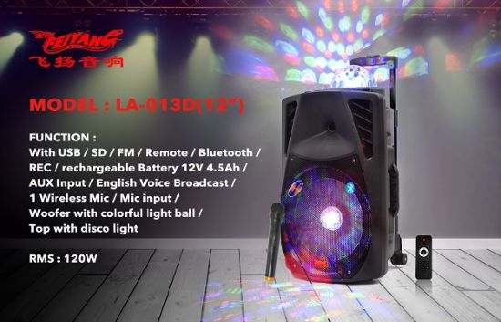 12 Inch Rechargeable Big Power Portable Bluetooth Speaker with Trolley---La-013D pictures & photos