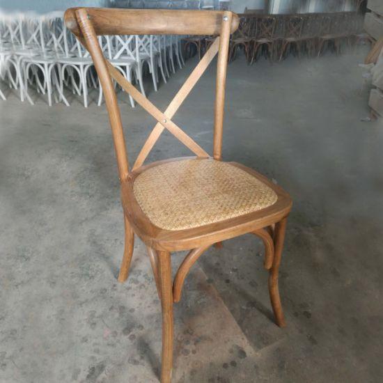 Modern Wedding Rental Garden Stackable Oak Beech Wood Vineyard Cross Back Chair and Tables