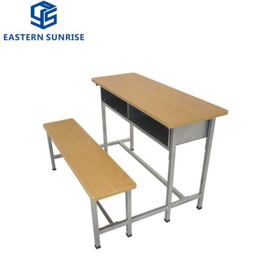 School Furniture Type Wood Student Double Desk Chair