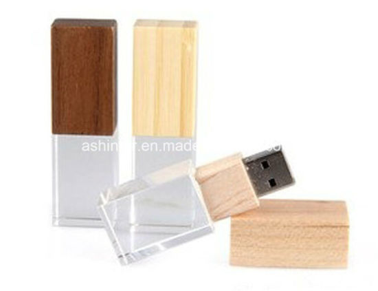 Wood USB Flash Drive USB3.0 Memory Pendrive Crystal USB Stick pictures & photos
