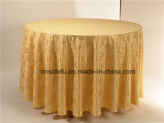 Wholesale Luxury Decoration Round Polyester Damask Table Cloth pictures & photos