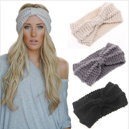 China Winter Women Lady Ear Warmer Crochet Bowknot Turban Knitted
