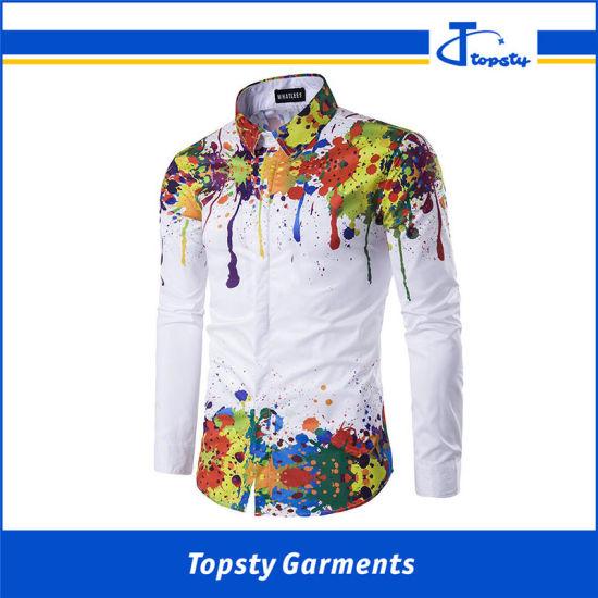 Custom Made Cotton White Silk Screen Printing Long Sleeve Printed Shirts