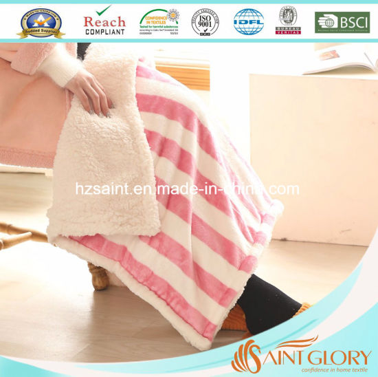 Wholesale Eco-Friendly Two Layer Sherpa Baby Blanket pictures & photos
