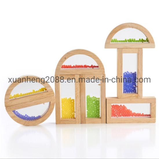Children Educational Toys Color Wood Crystal Bead Rainbow Blocks