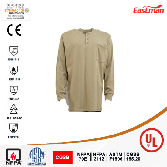 Flame Resistant 100%Cotton Henley T Shirt Khaki