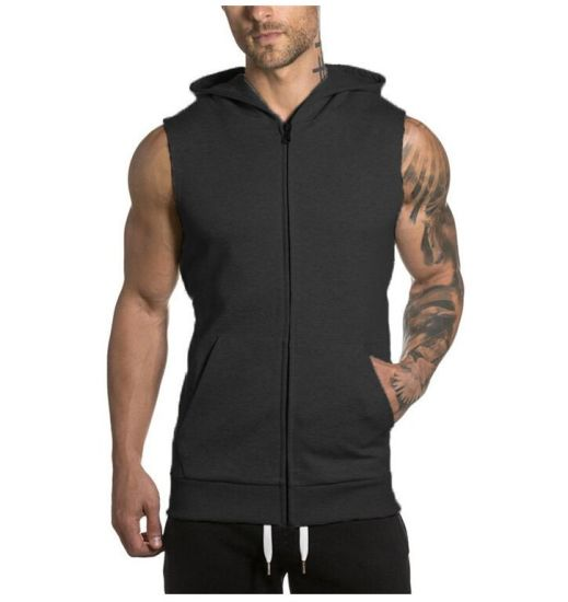 Front Zip Sleeveless Sportswear Vest Solid Cotton Hoodie with Cap Men′s M-2XL Red pictures & photos
