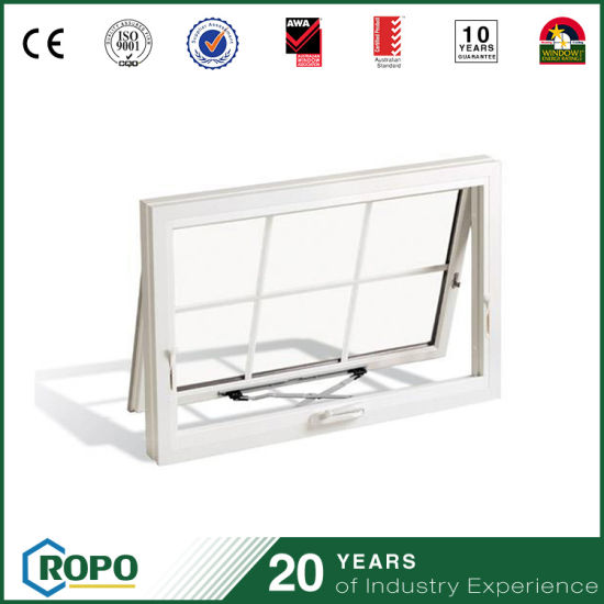 European Style PVC Vinyl Hand Crank Awning Window With Grill Design