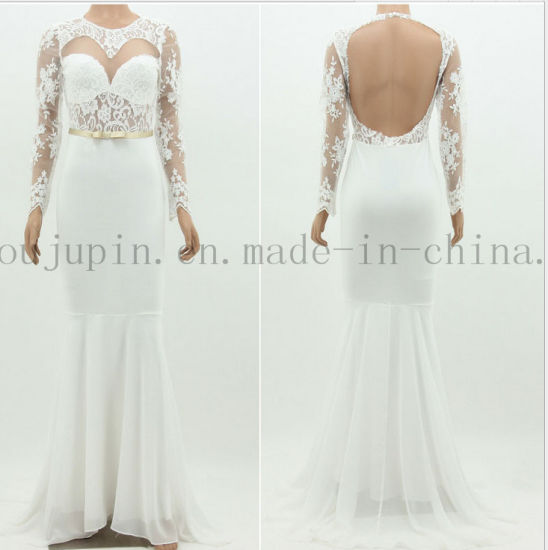 Mermaid Backless Lace Bridal Evening Wedding Gown Dress with Sleeve