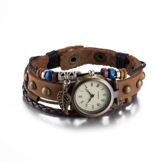Western Fashion Leather Bracelet Wrist Watch Vintage Design for Women