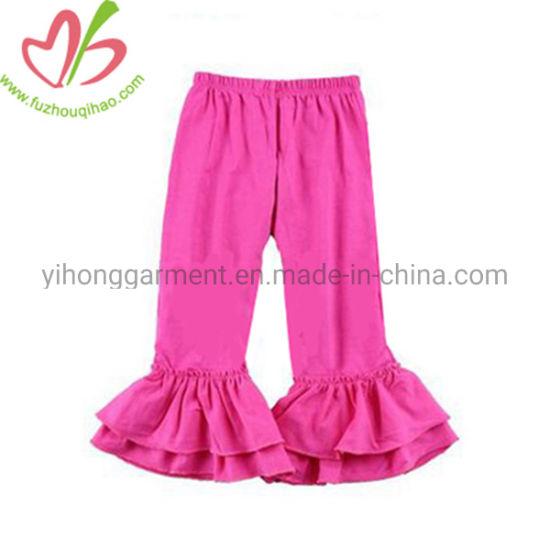 American Solid Color Kid Cotton Casual Girl Ruffle Leggings
