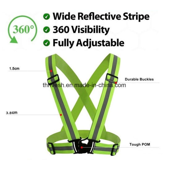 360 Degrees High Visibility Safety Vest Reflective Belt Safety Jacket