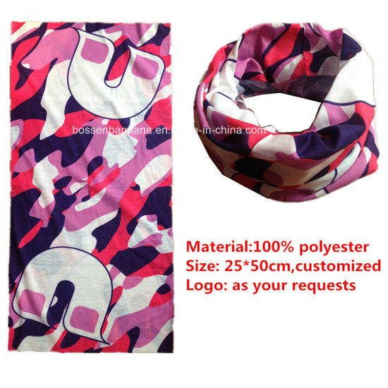 Factory OEM Produce Logo Printed Microfiber 25*50 Cm Custom Tubies Headwear pictures & photos