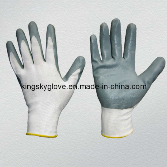 Polyester Shell Grey Nitrile Coated Palm Cheap Nitrile Glove Chemical Work Working Glove pictures & photos