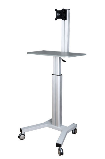 "Mobile Computer Workstation Gas Lift/Trolley Single Monitor 10-24"" Adjustable (GAS 1601A) pictures & photos"