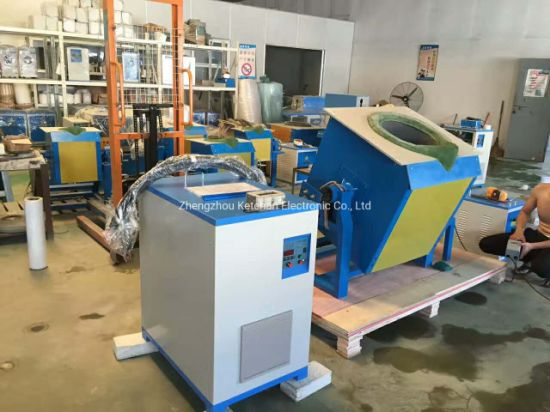 100kg Stainless Steel Crucible Metal Induction Melting Furnace with Industrial Water Chiller