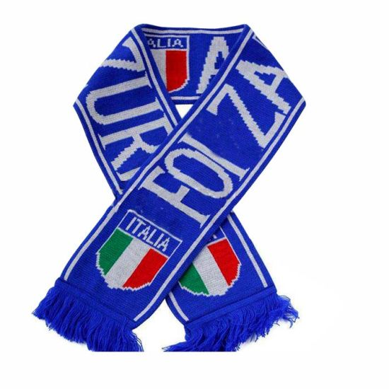 Printing Knitted Sports Team Italy Football Scarf with Logo