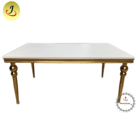 China Mirror Glass Top Dining Table Design For Wedding Decoration Banquet Event China Stainless Steel Table Gold Stainless Steel Table