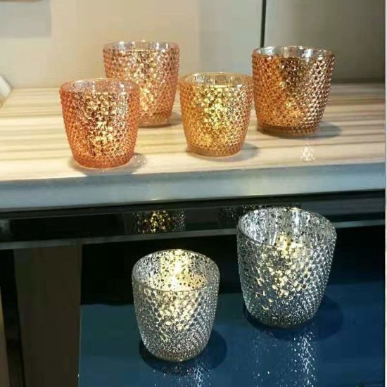 Simple Modern Plated Glass Candle Cup Glass Candle Holders