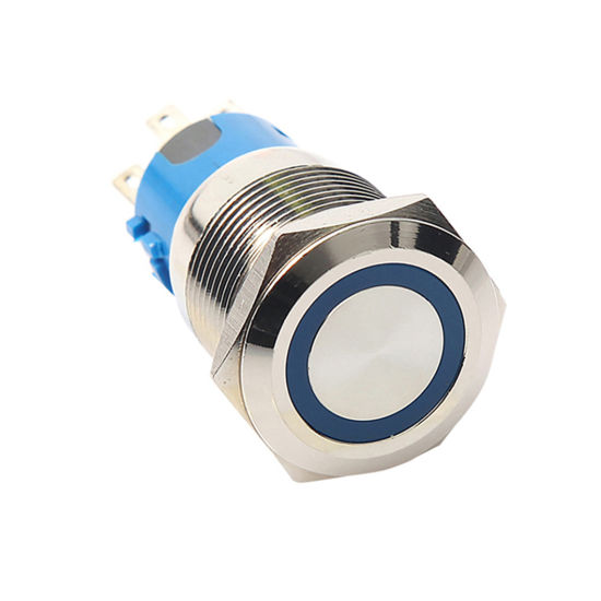 5pin Waterproof 12V Blue 19mm Momentary LED Push Button Switch