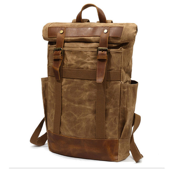 Men`S Male Canvas Double Shoulder Outdoor Leisure Casual Travel Pack Bag Backpack (CY5874)