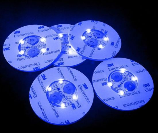 Sound Activated LED Light Beer Sticker Coaster pictures & photos
