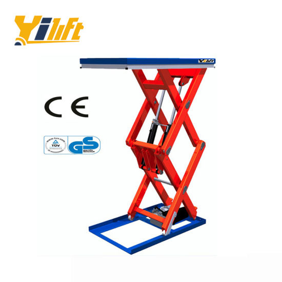 Ce Approved Electric Type AC 1.5kw Double Scissors Lift Table Truck 2 Ton