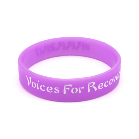 Cheap Custom Silicone Bracelets No Minimum with Debossed Color Filled pictures & photos