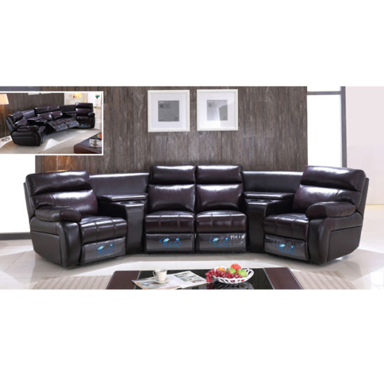 China Top Italian Leather Home Theater Recliner Sofa 6028tv China