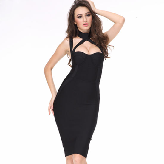 04d8cfc099 Runway Bandage Dress Black Satin Halter Backless Hollow out Party Dress  Elegant Hot Celebrity Bodycon Dress