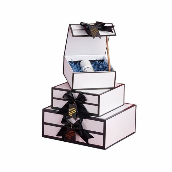 Luxury Fold Packed Cosmetic Gift Packaging Cardboard Paper Box with Ribbon