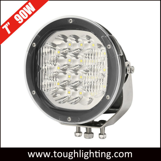 """4X4 Offroad Accessories 12/24V 7"""" 90W Round CREE LED Auto Car Work Driving Lights"""
