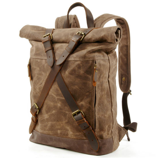 Mens Washed Canvas Genuine Leather Customize Logo Rucksack Retro Vintage Cotton Laptop Custom School Canvas Backpack for Men