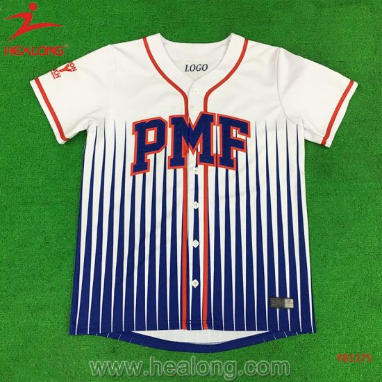 Healong Sporstwear Dye-Sublimation Printing Applique Logo Baseball Jersey on Sale pictures & photos