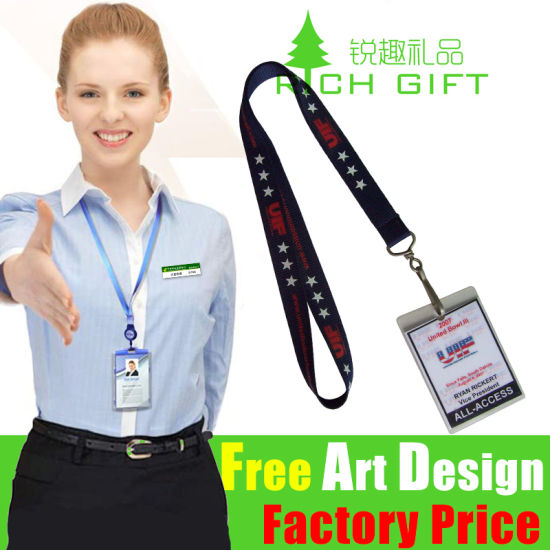 Factory Price Decorative Yellow Color or Custom Polyester Neck Lanyard pictures & photos