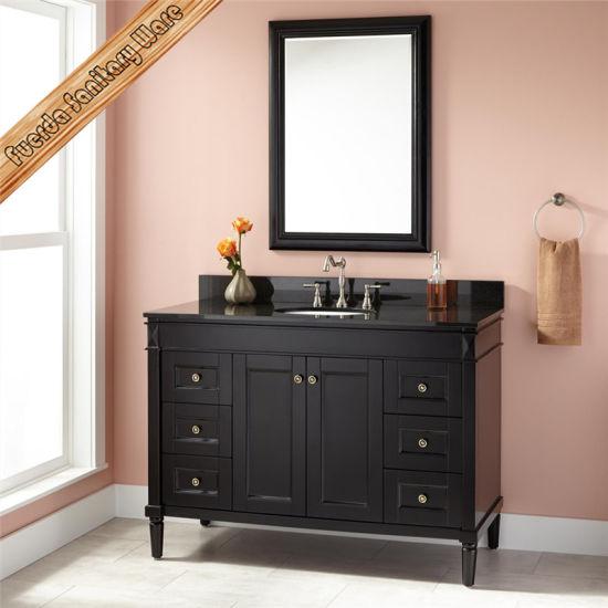 Fed-303 Espresso Solid Wood Bathroom Vanities Modern Bathroom Cabinets
