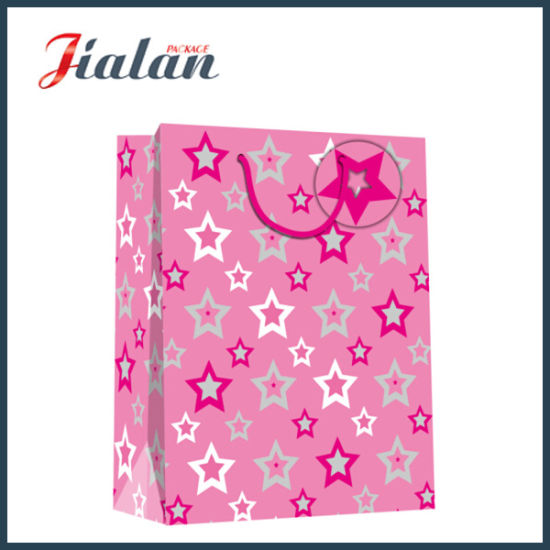 Custom Made Hot Stamping Stars Shopping Carrier Gift Paper Bags