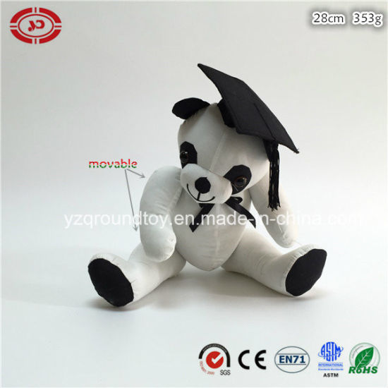 White Cotton Fabric Stuffed Soft Sitting Graduation Panda Cute Toy
