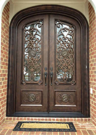 Square Top Best Quality Wrought Iron Entry Door With Gl