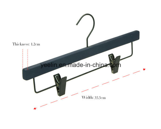 Hotel Wooden Clothes Hanger for Pants with Chrome Clips (YLWD-d0) pictures & photos