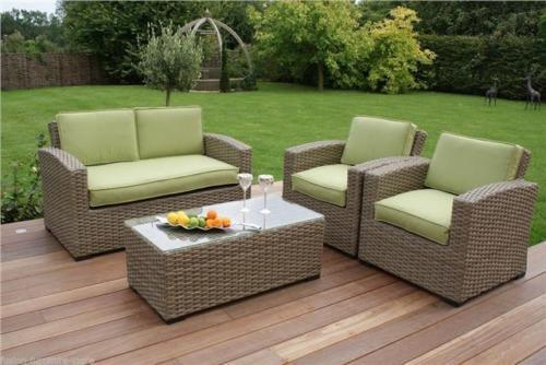 New 4PCS Green Rattan Garden Chair Set