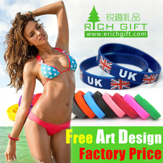 OEM UK Imprinted Custom Silicone Bracelet with No Minimum Gift pictures & photos