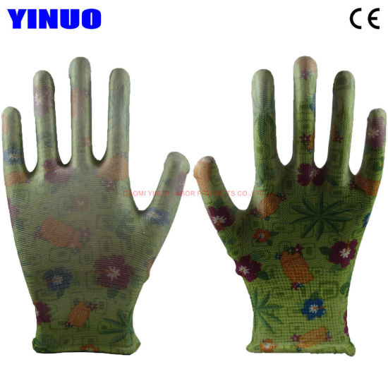 PU Palm Coated Flower Color Garden Protective Work Gloves