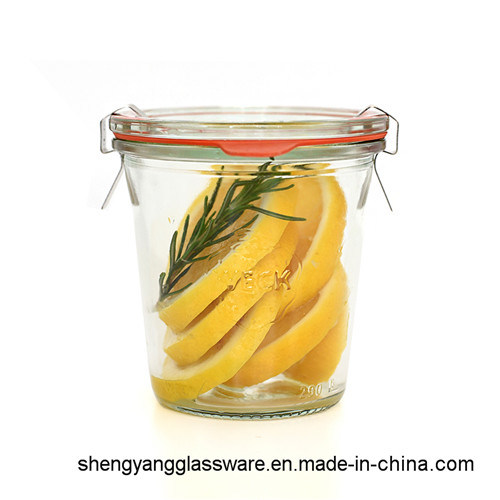 Wholesale 50ml 100ml 300ml Glass Strawberry Weck Jar with Clip Seal Lid